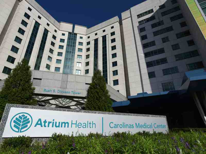 A hospital building in Charlotte which says Atrium.