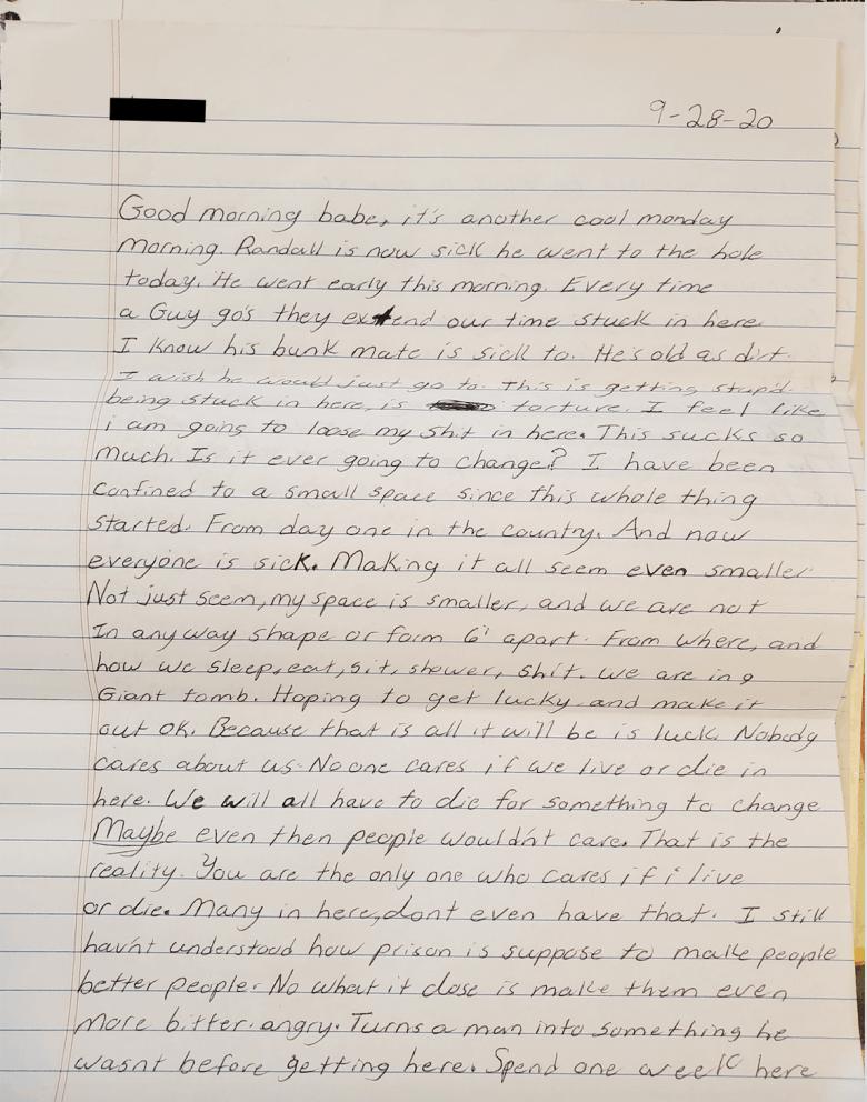 We see a letter sent by Julia's boyfriend on September 28.