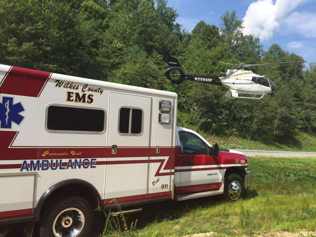 A photo of an ambulance and a rescue helicopter which will help patients with chest pain determine where they need to go