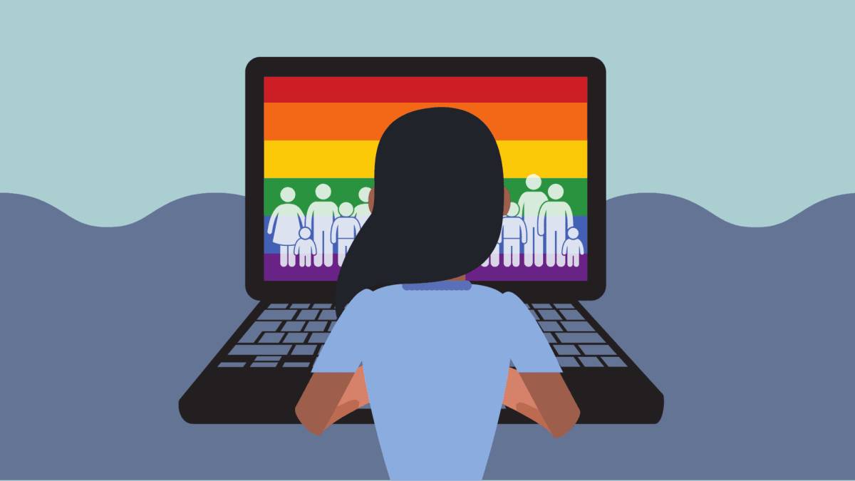 A person sits at their computer. On the screen is the LGBTQ flag with people on it.