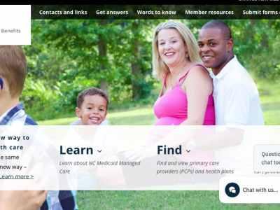 A screenshot of Medicaid managed care website