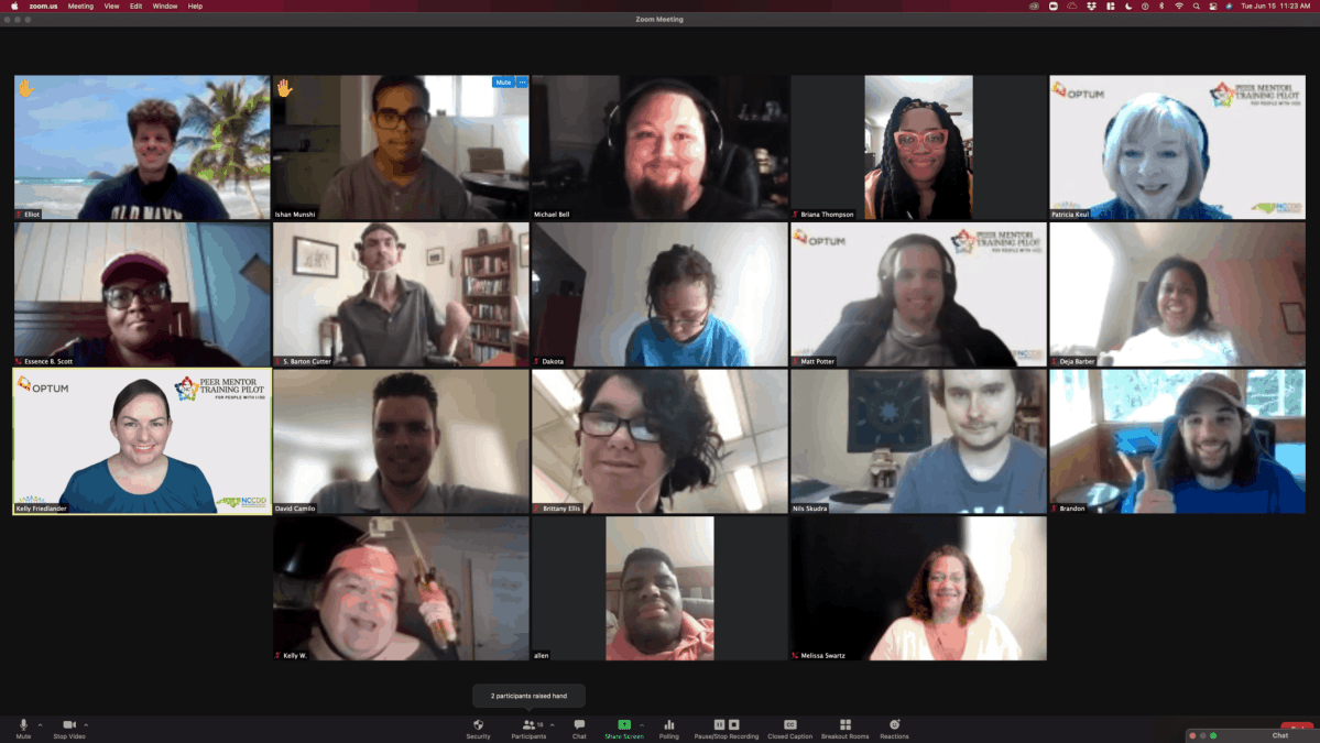 Eighteen people pictured in an online Zoom meeting