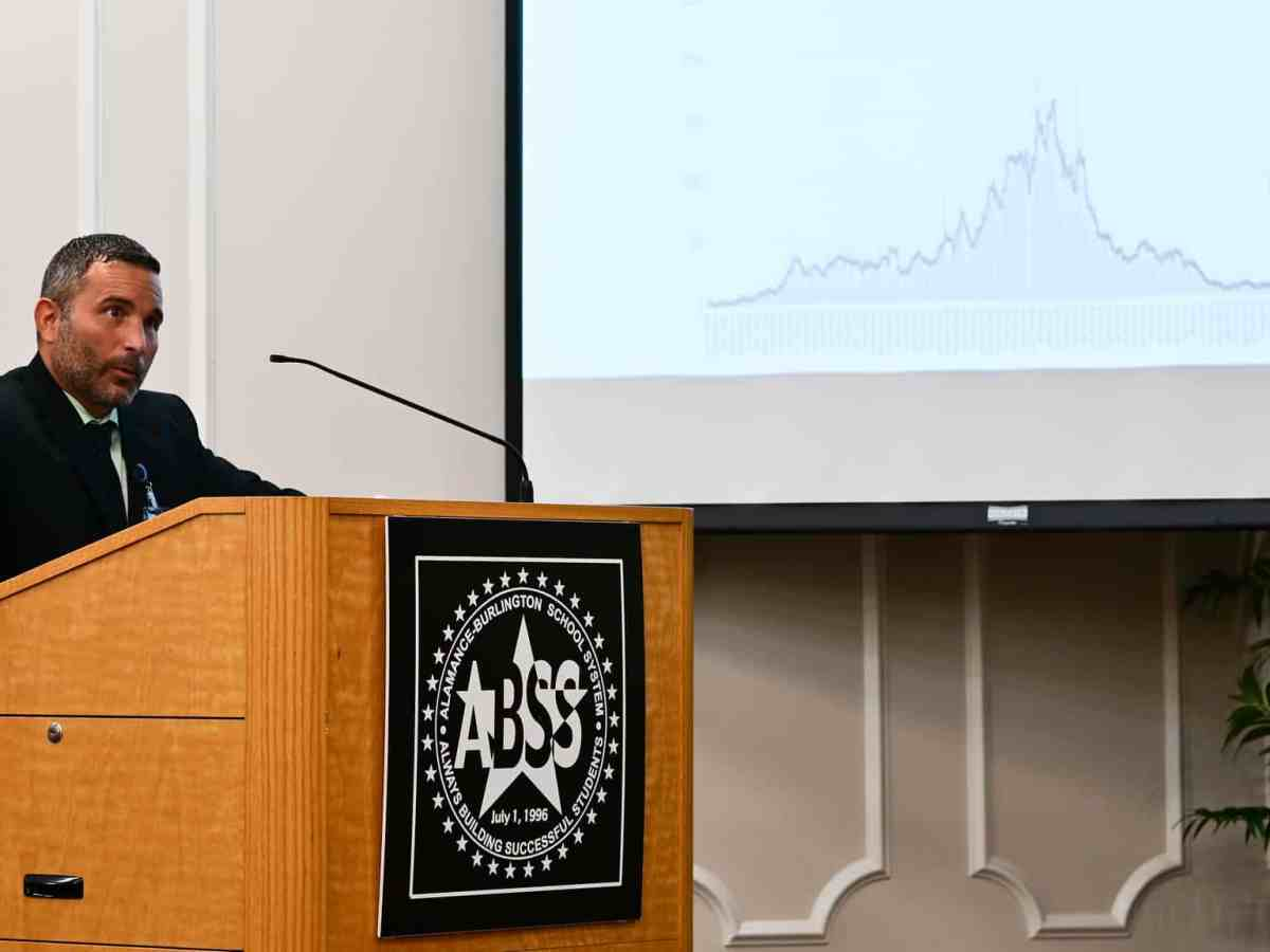 shows a man standing at a podium with the symbol for the Alamance Burlington School System on it. He's standing in front of a projector screen where a graph denoting the trend of COVID coronavirus cases is shown.