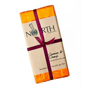geranium & orange dark chocolate bar