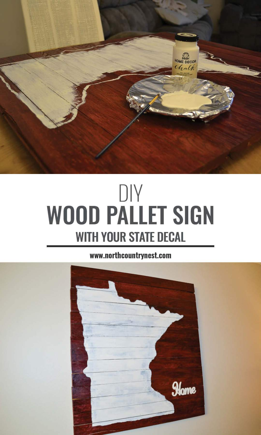 wood pallet sign with state decal