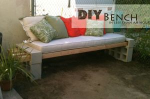 Home dit cinder block bench
