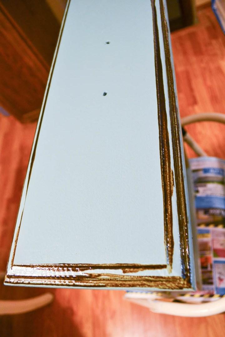 glazing cabinet drawers step one