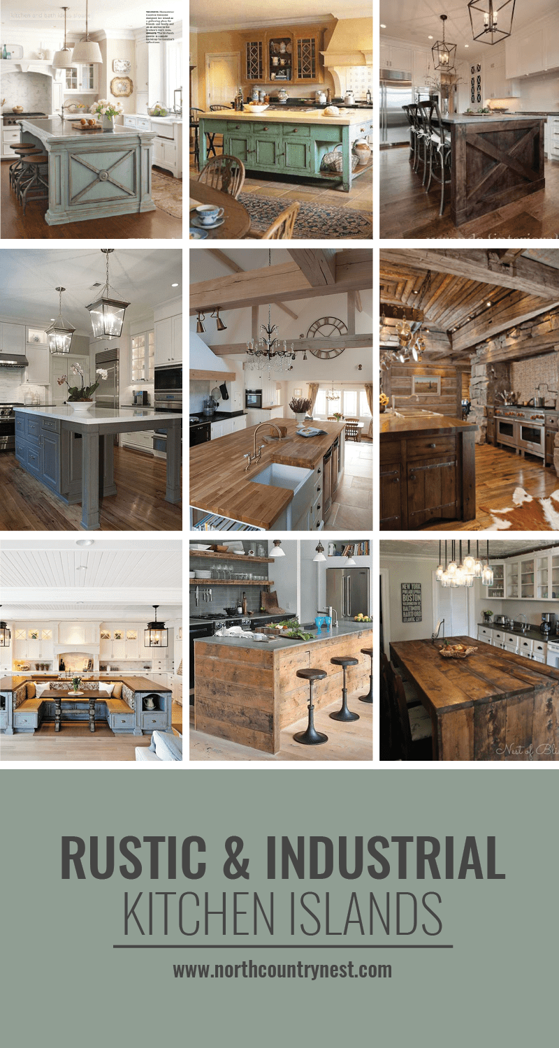rustic and industrial kitchen islands