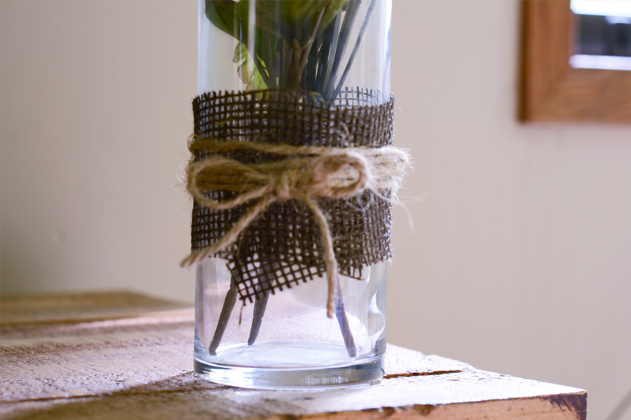 burlap and twine on cylinder vase