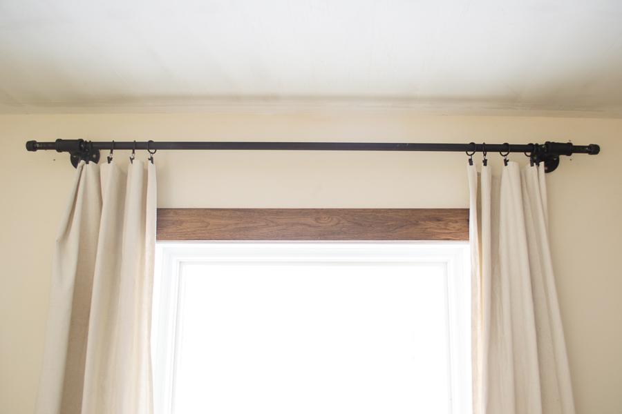 drop cloth curtains with black pipe curtain rod