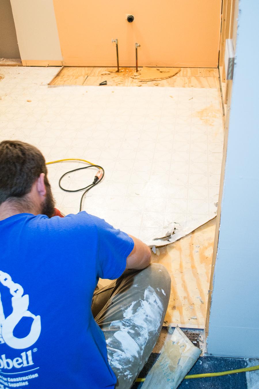 removing the linoleum floor
