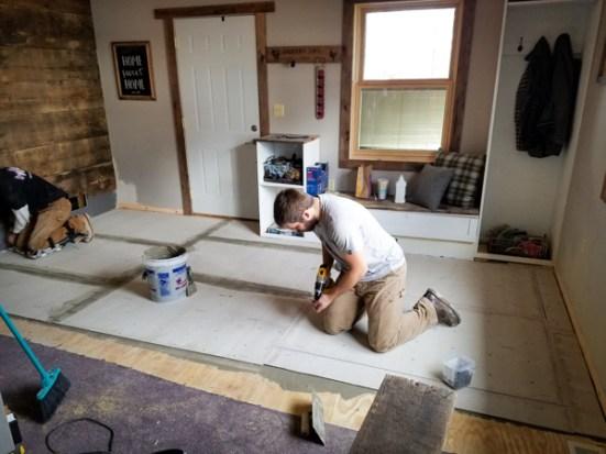 putting backer board down for interior brick tile