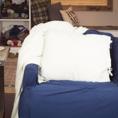 DIY Drop Cloth Side Tie Throw Pillow