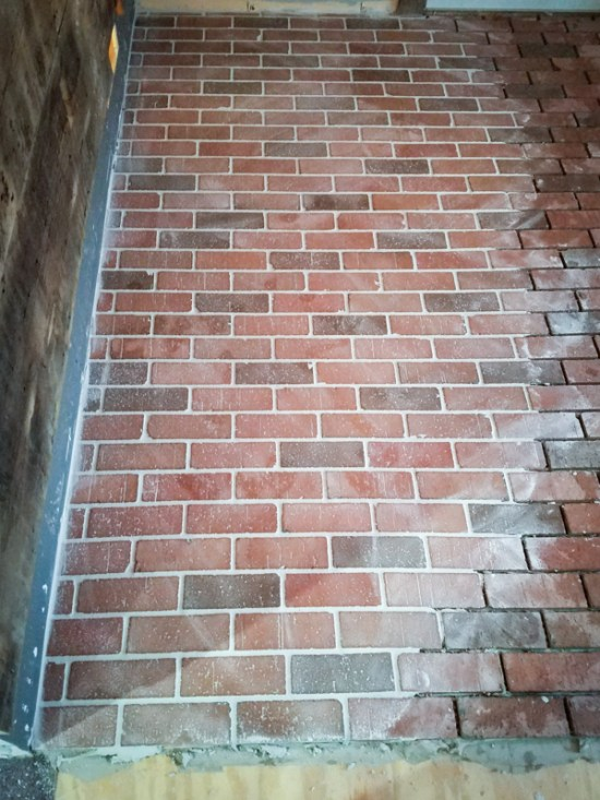 putting down grout when laying interior brick pavers