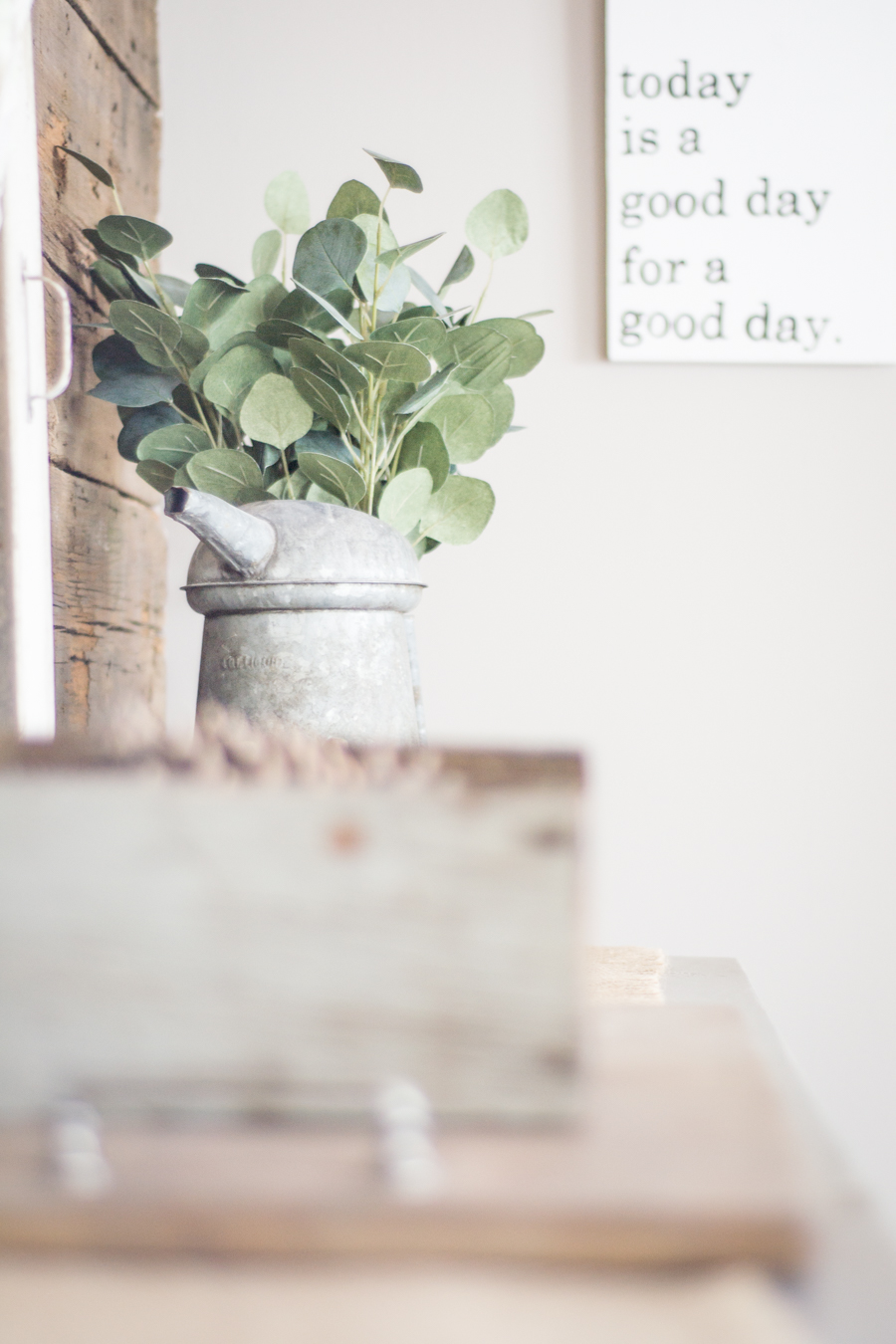 spring entryway home tour with eucalyptus