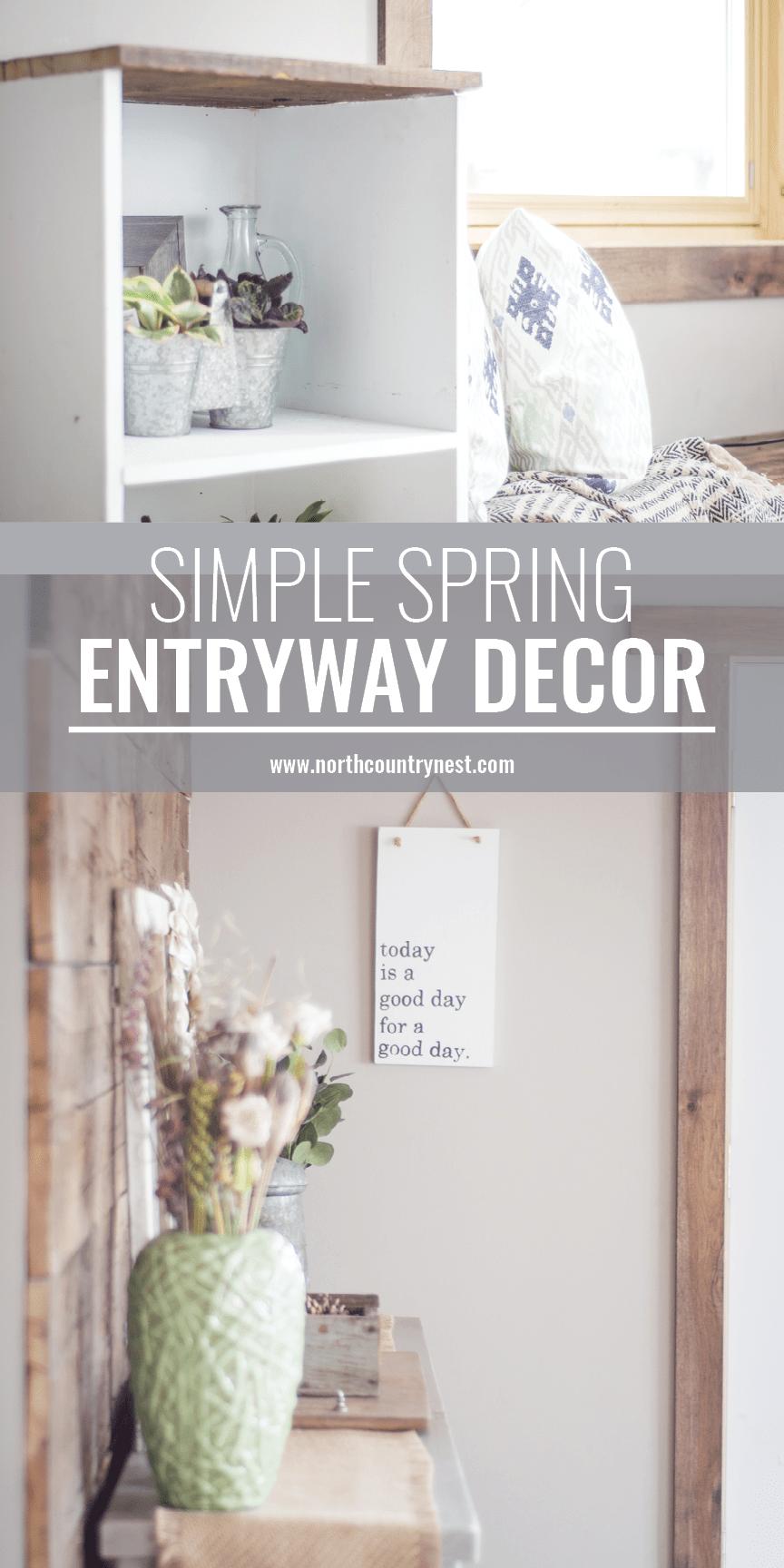 simple spring entryway decor