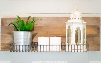Guest Bathroom Industrial Reclaimed Wood Shelves