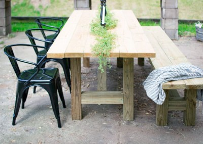 farmhouse outdoor table