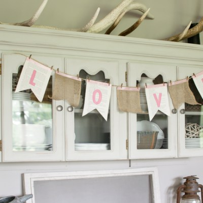 Book Page and Burlap Banner