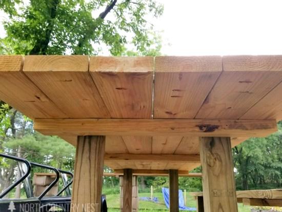 underneath outdoor farmhouse patio table