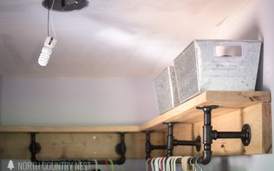 Laundry Room Renovation Updates | Industrial Style Pipe Shelving