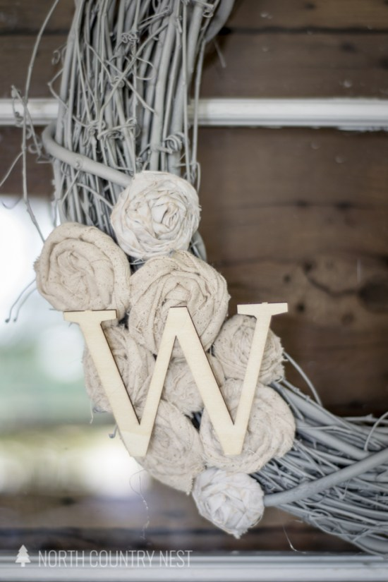 DIY Neautral Fabric Scrap Wreath