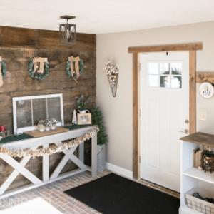 rustic holiday entryway
