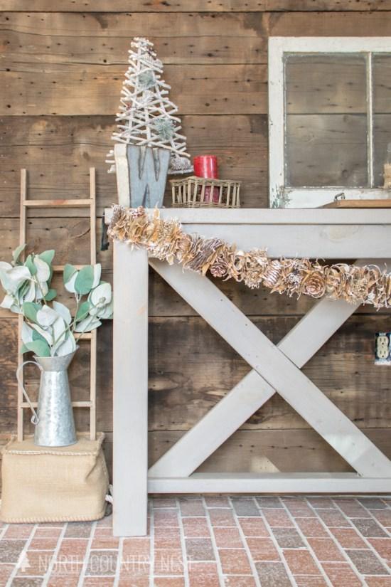 rustic holiday entryway decor