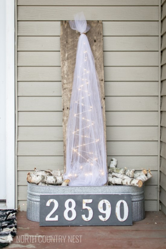 rustic and simple holiday porch decor
