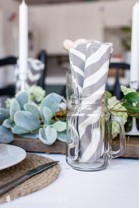 mason jar glass with chevron napkin