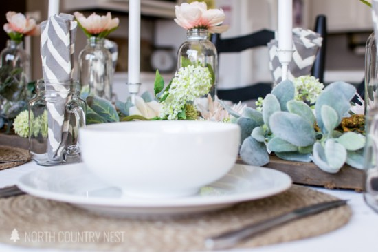 white dishes and spring table decor