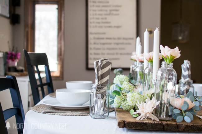 spring table decor with white tablecloth