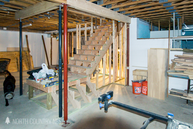 wood basement stairs