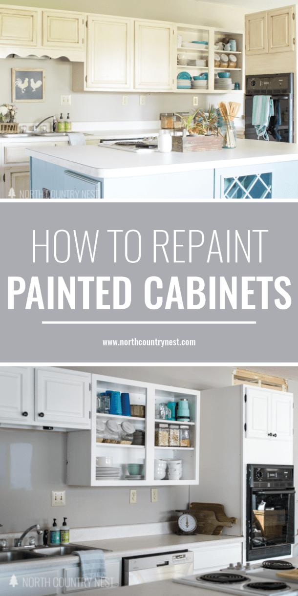how to repaint painted kitchen cabinets
