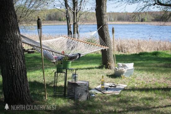 hammock in backyard on the lake