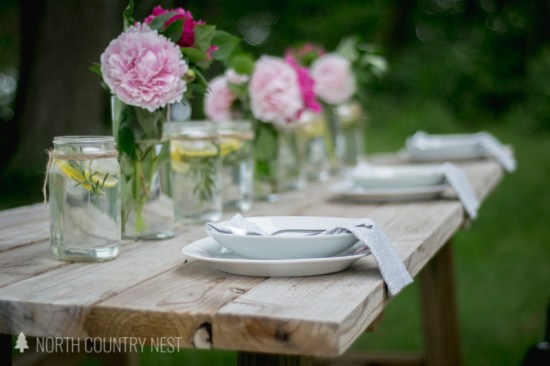 peony centerpiece on farmhouse table