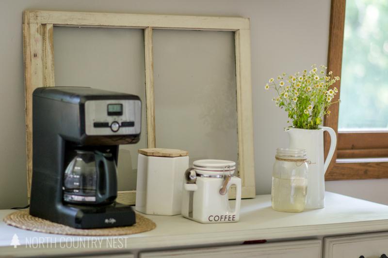 coffee bar with fresh flowers