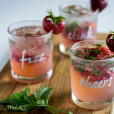 Strawberry Mint Fizz Cocktail