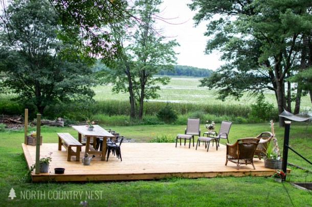 outdoor deck with outdoor furniture