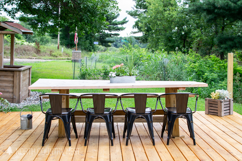 dining table on outdoor deck