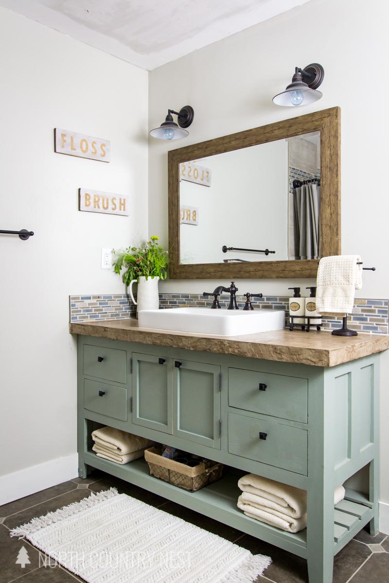 bathroom vanity with concrete counter top
