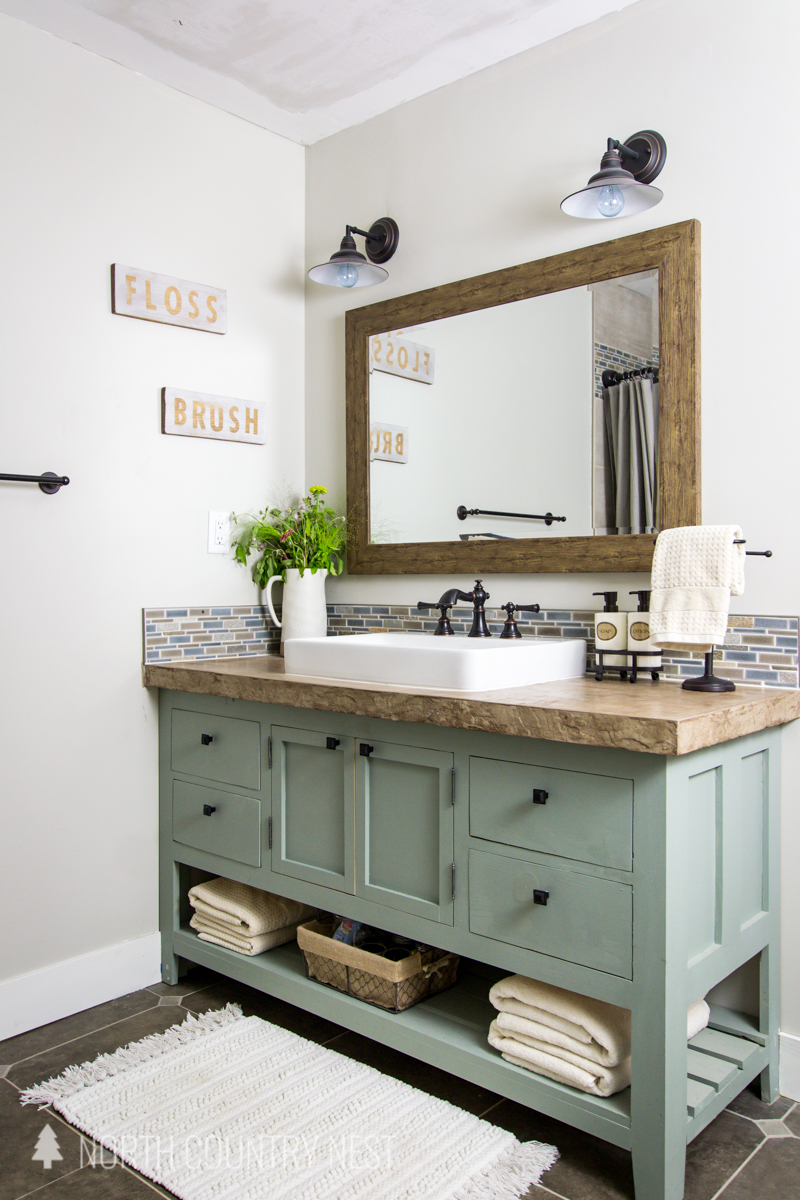 bathroom vanity with concrete counter top