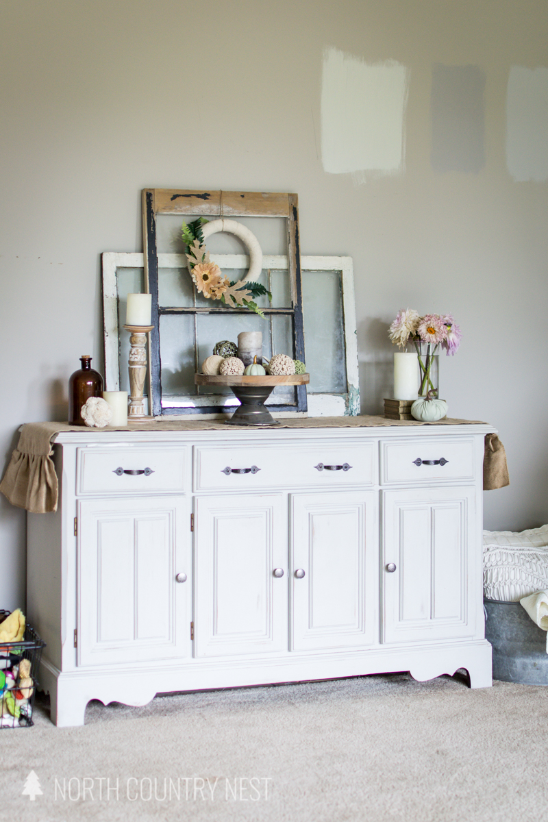 white hutch with fall decor