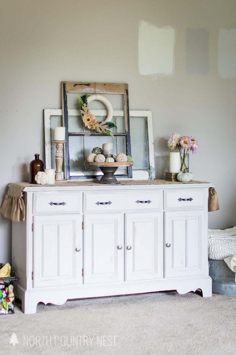 white hutch with fall decor