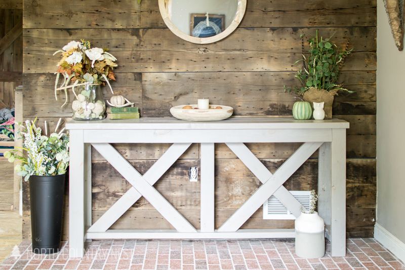 entryway table with fall decor