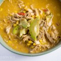 chicken fajita soup in green bowl
