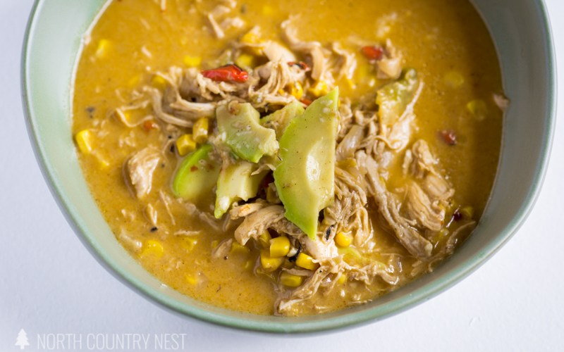 chicken fajita soup in green bowl