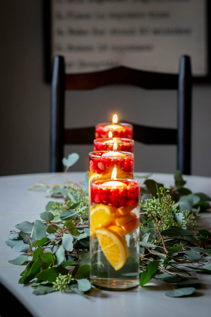 oranges, cranberries and eucalyptus kitchen table centerpiece