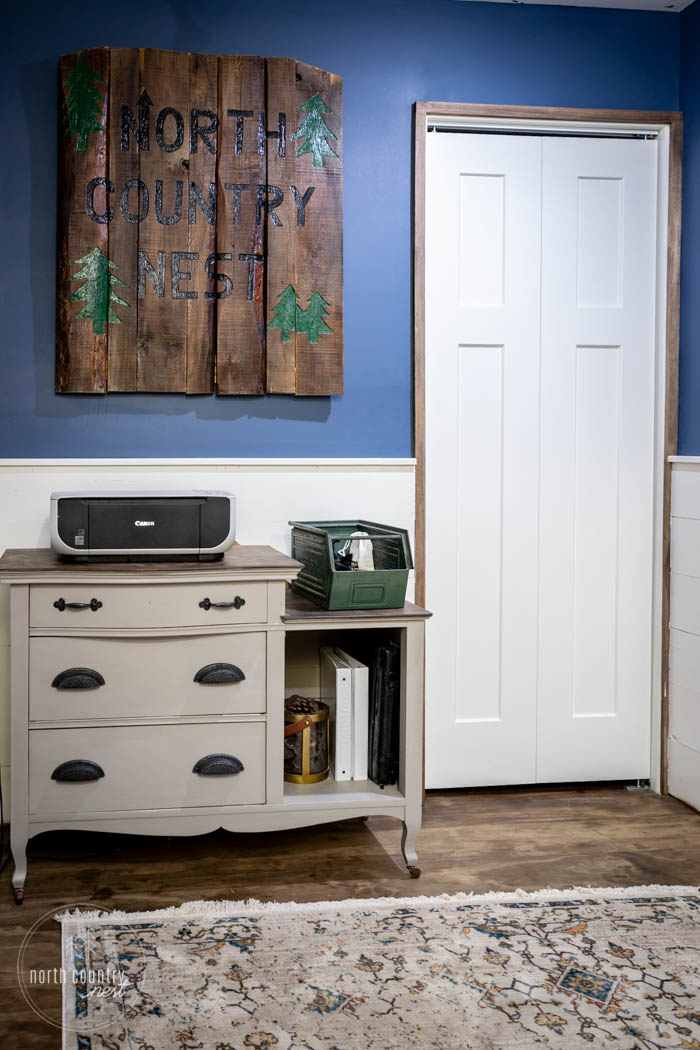office vanity and white closet door