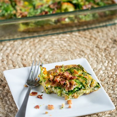 Gluten Free Breakfast Casserole with Broccoli, Spinach and Bacon